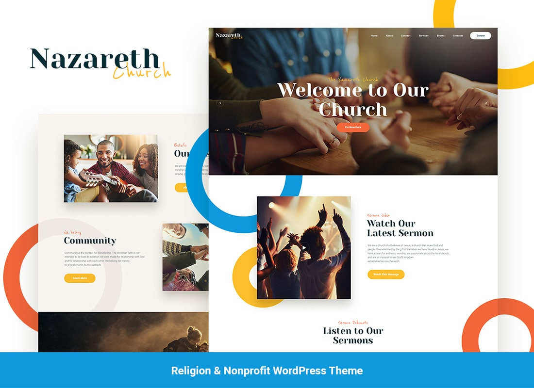 Nazareth | Church & Religion WordPress Theme Website Template