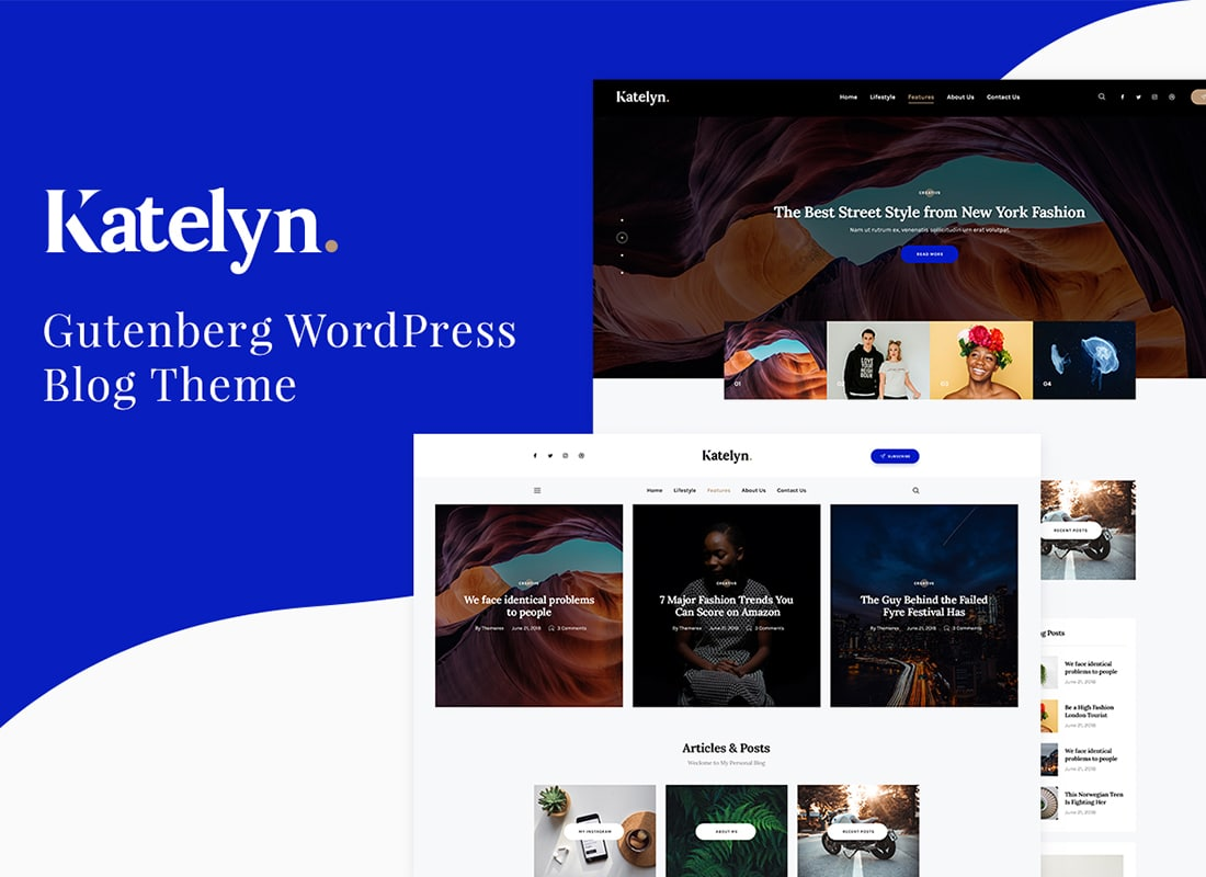 Katelyn | Gutenberg Blog WordPress Theme Website Template