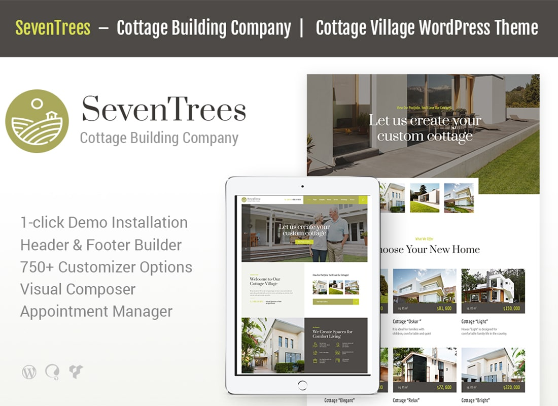 SevenTrees | Real Estate WordPress Theme Website Template