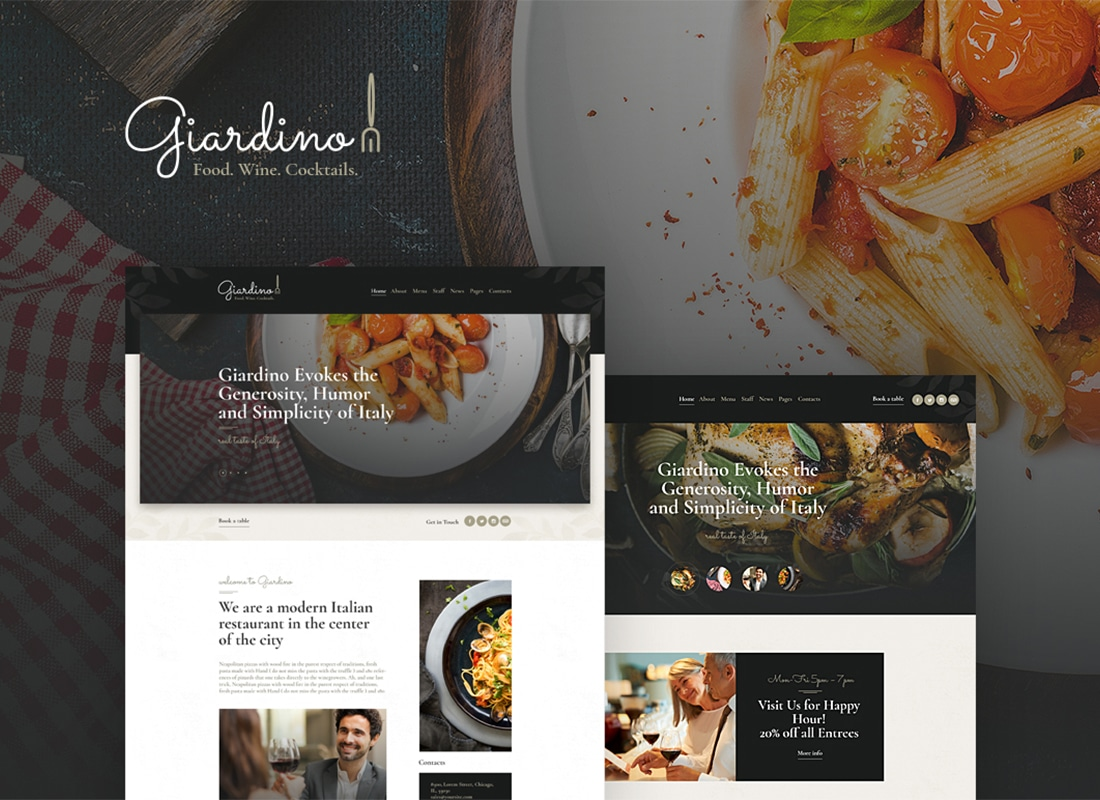 Giardino - An Italian Restaurant & Cafe WordPress Theme Website Template