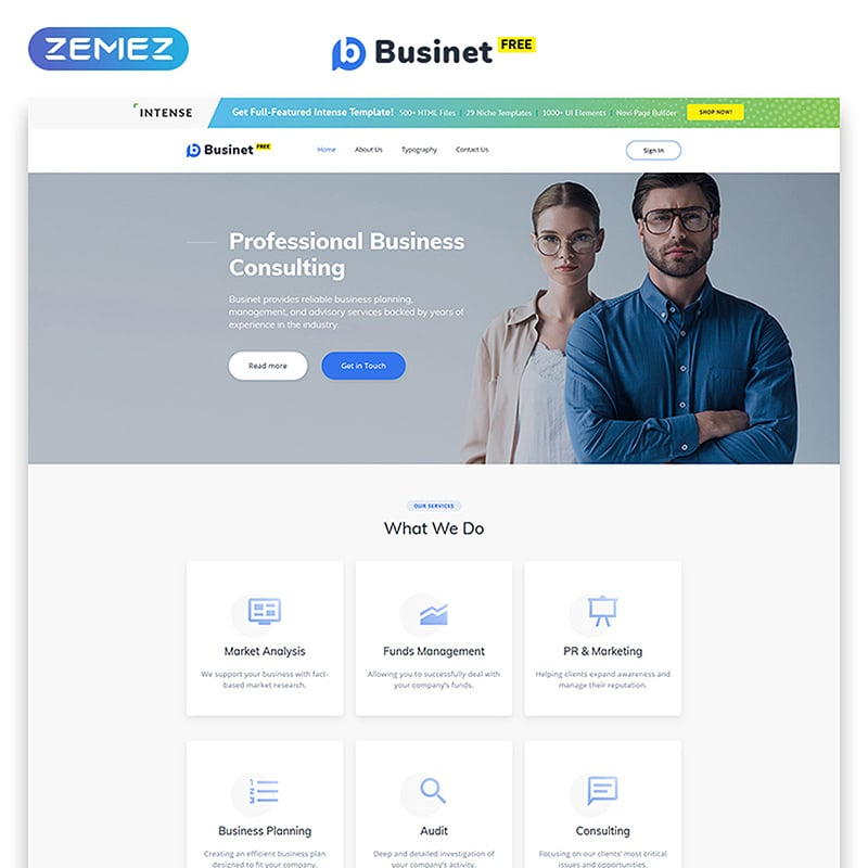 Businet - Free HTML5 Theme for Business Site Website Template