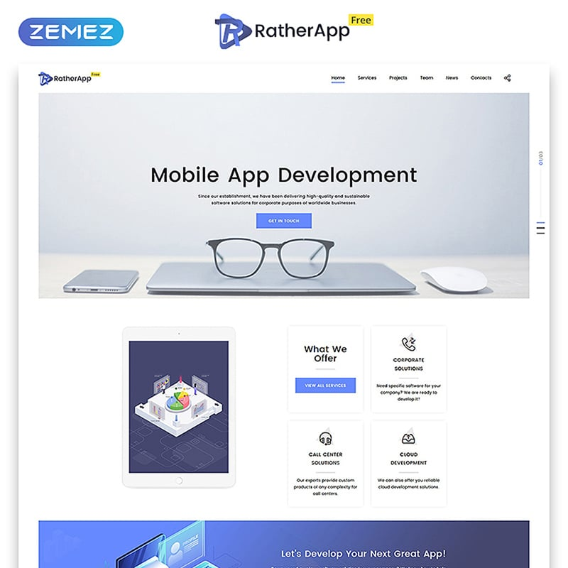RatherApp - Free HTML5 Single Page Theme Website Template