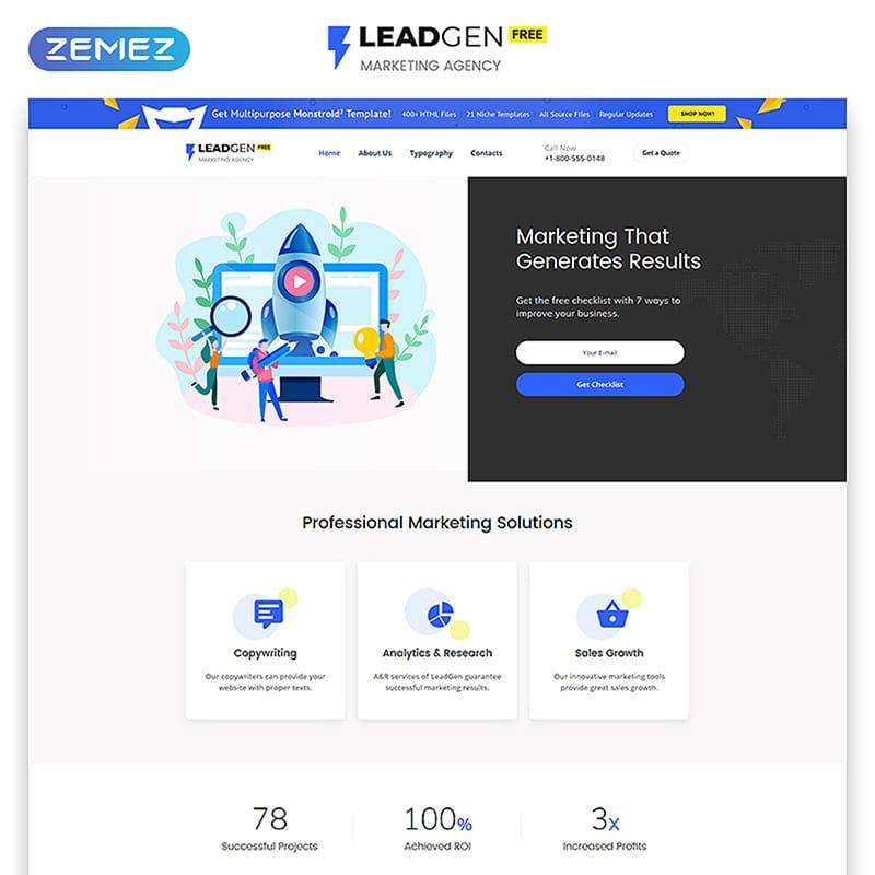 LeadGEN - Free HTML5 Theme for Marketing Agency Website Template