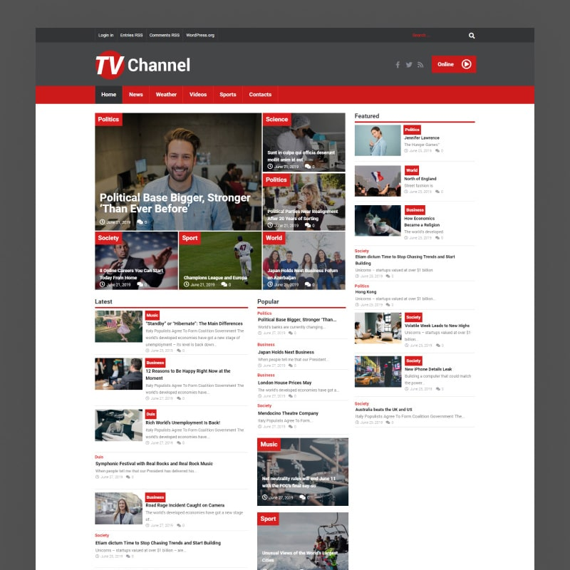 TVChannel Website Template