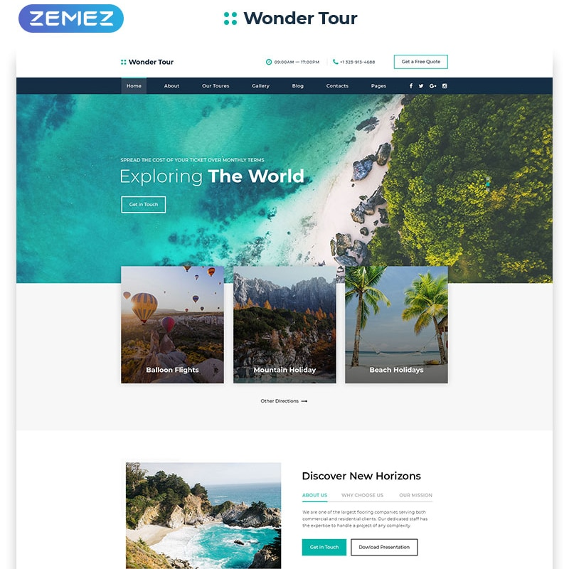 Wonder Tour  Website Template