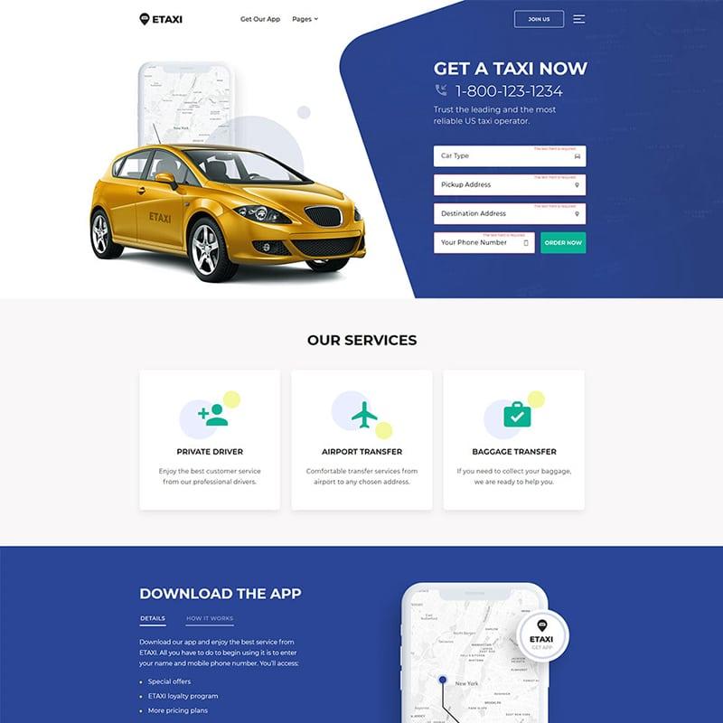 Taxi Service Website Template Website Template