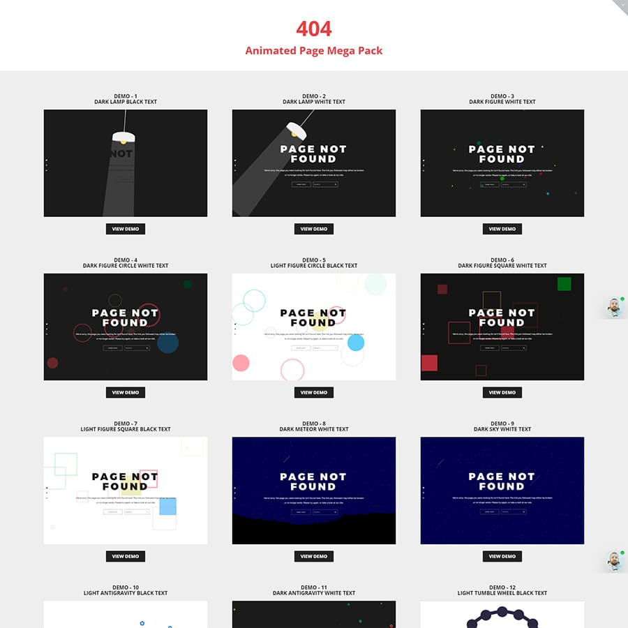 404 Animated Page Mega Pack Website Template
