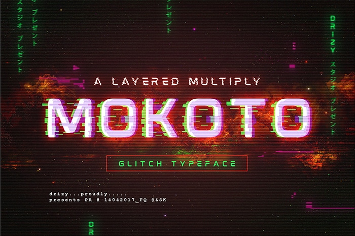 Mokoto Glitch Typeface Font Website Template