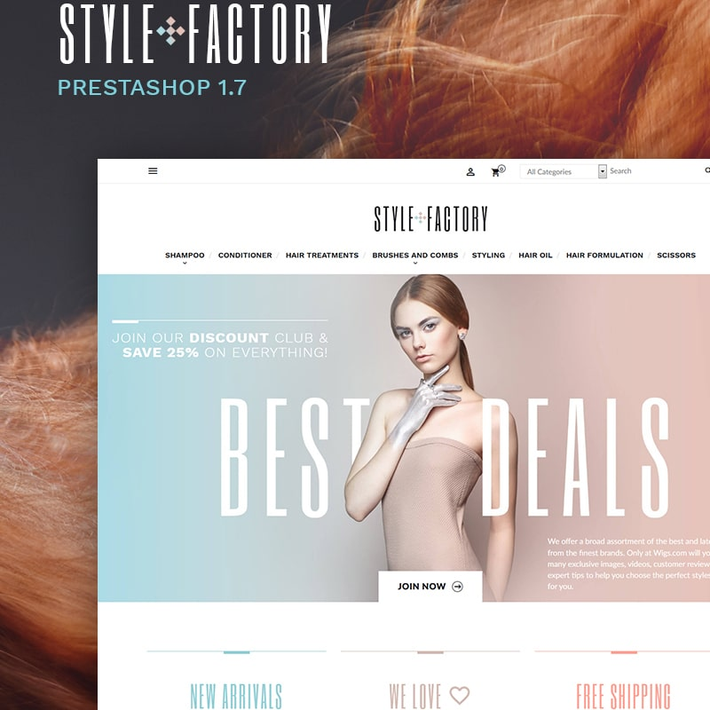 Hair Salon Ecommerce Template - StyleFactory PrestaShop Theme Website Template