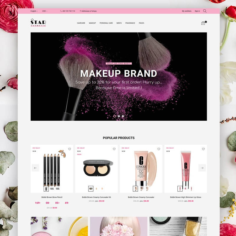 Star Cosmetic PrestaShop Theme Website Template