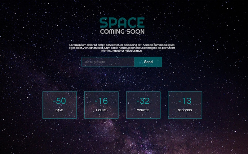 Space Coming Soon Website Template