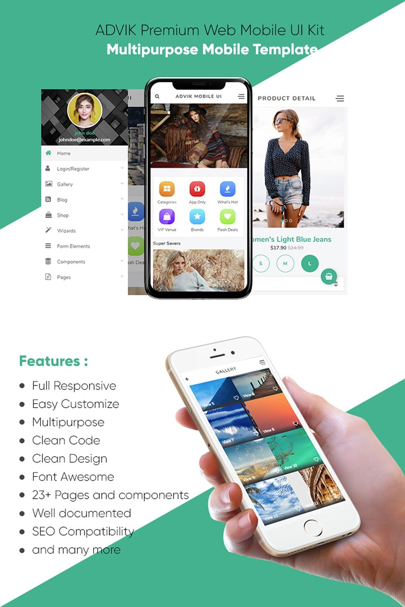 ADVIK Premium Web Mobile UI Kit App Template Website Template
