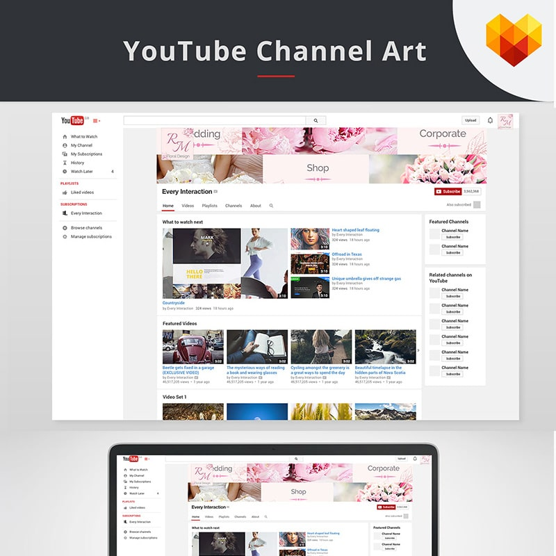 YouTube Cover Template for Floral Designer Website Template