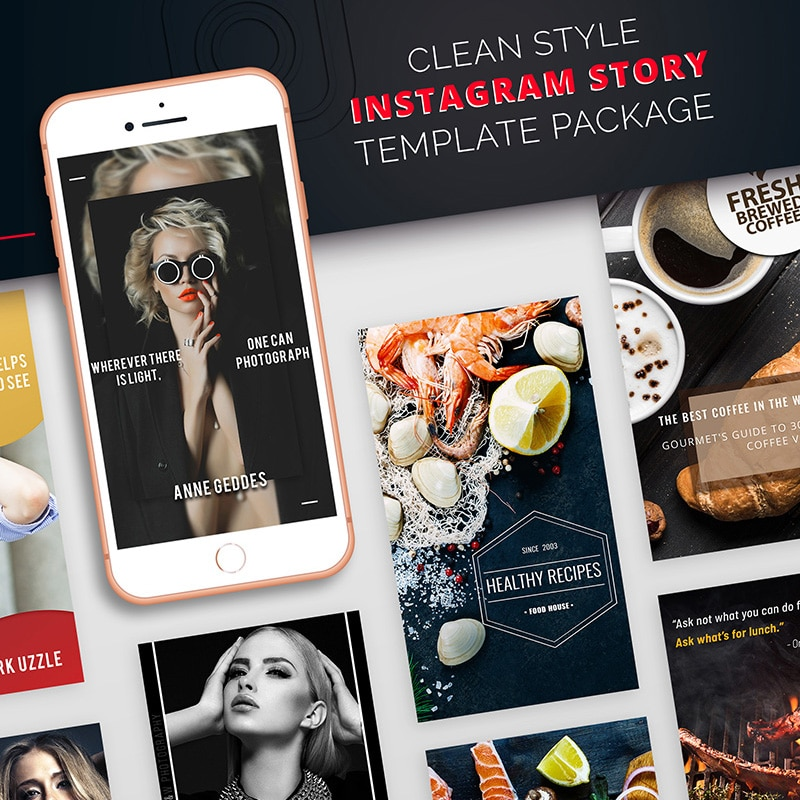 Clean Style Instagram Story Package Social Media Website Template