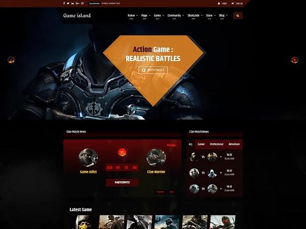Game Island - Community Portal Gaming & Movie Website Template Website Template