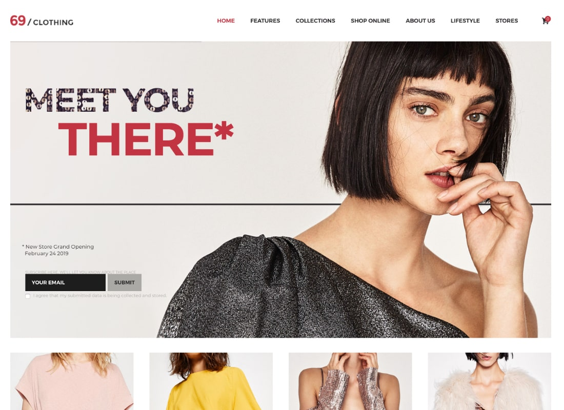 69 Clothing | Brand Store & Fashion Boutique WordPress Theme  Website Template