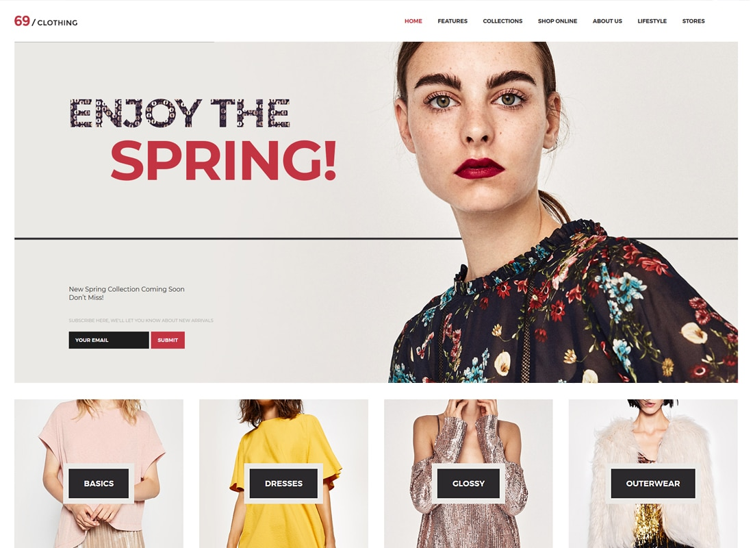 69 Clothing - Brand Store & Fashion Boutique WordPress Theme   Website Template
