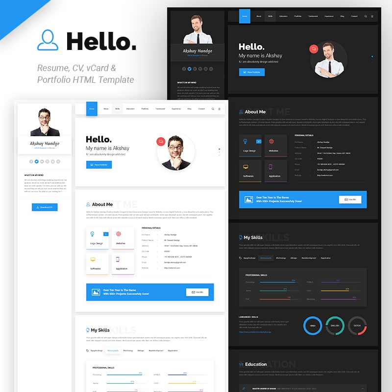 Hello Resume Website Template