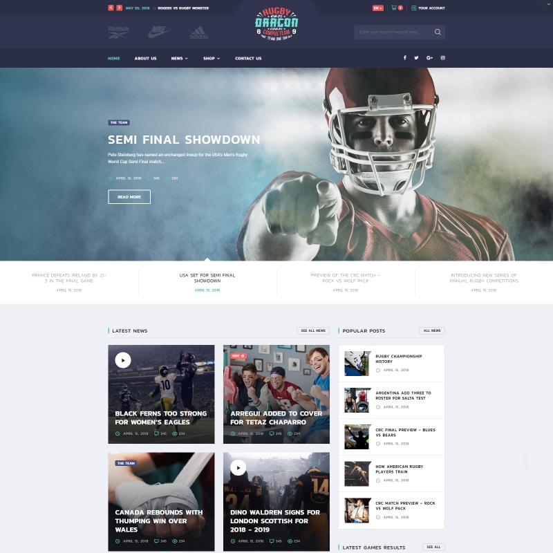 Reebok Website Template