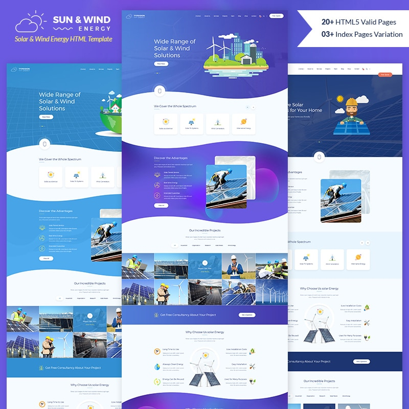 Sun and Wind Energy Website Template