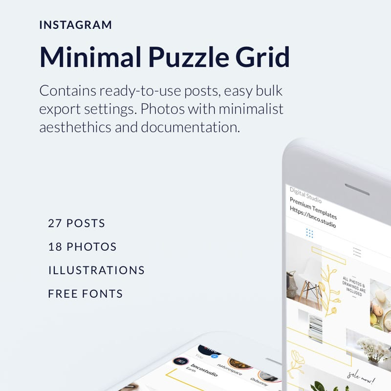 Minimal Instagram Puzzle Grid Website Template