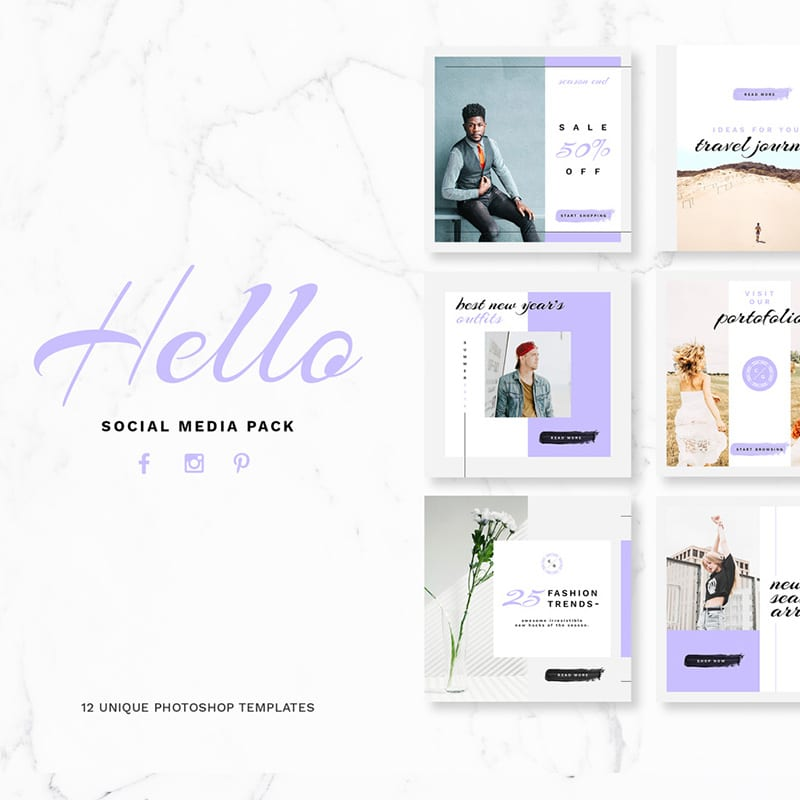 Hello Social Media Pack  Website Template