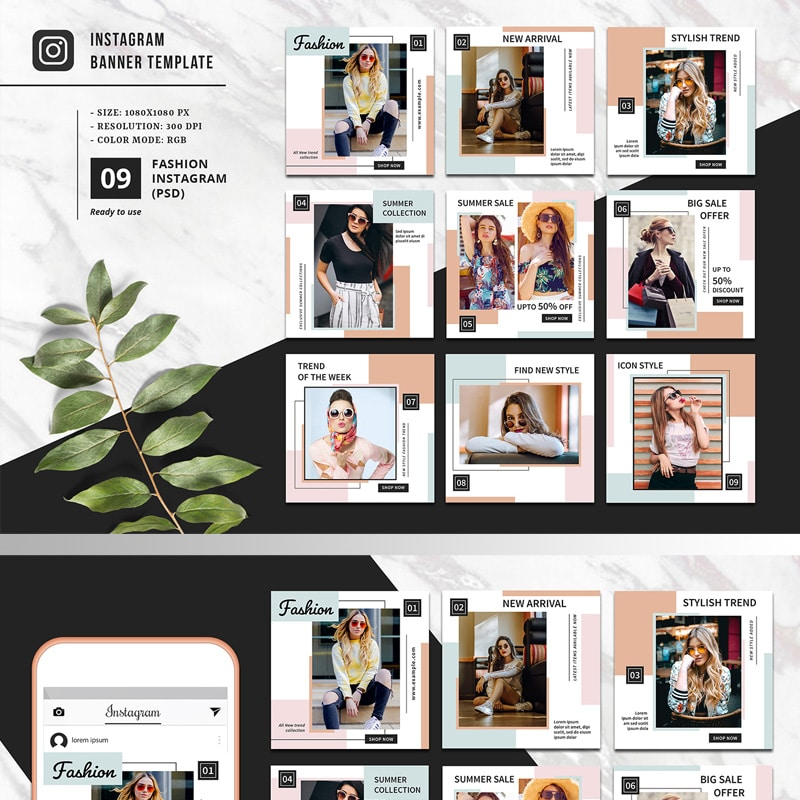 Fashion Instagram Template Website Template
