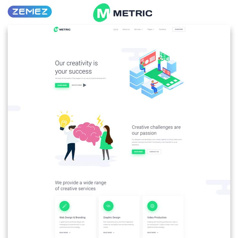 Metric Website Template