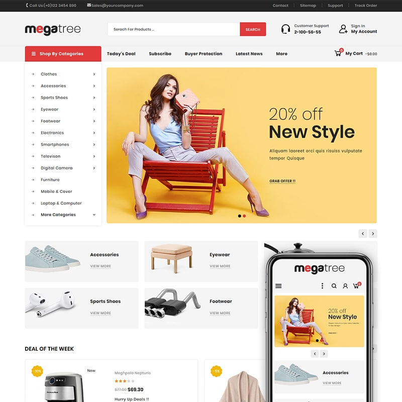 Megatree - Multi Purpose Store PrestaShop Theme Website Template