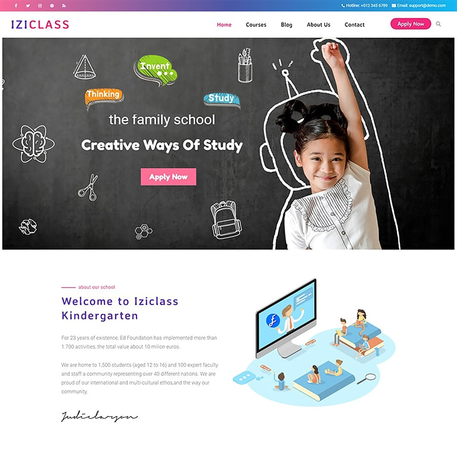 Iziclass Website Template