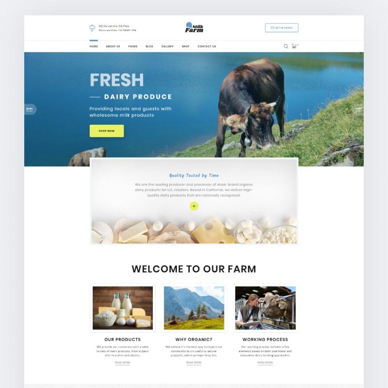 Dairy Farm Website Template Website Template