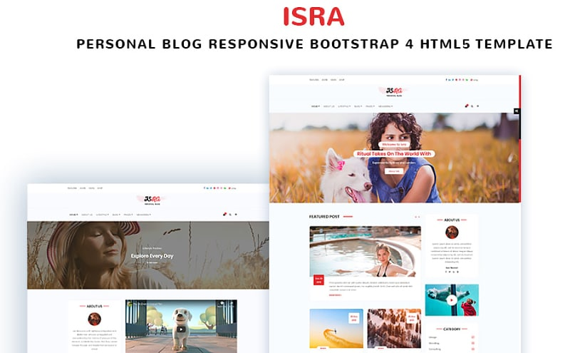 ISRA - Personal Blog Bootstrap4 HTML5 Template Website Template