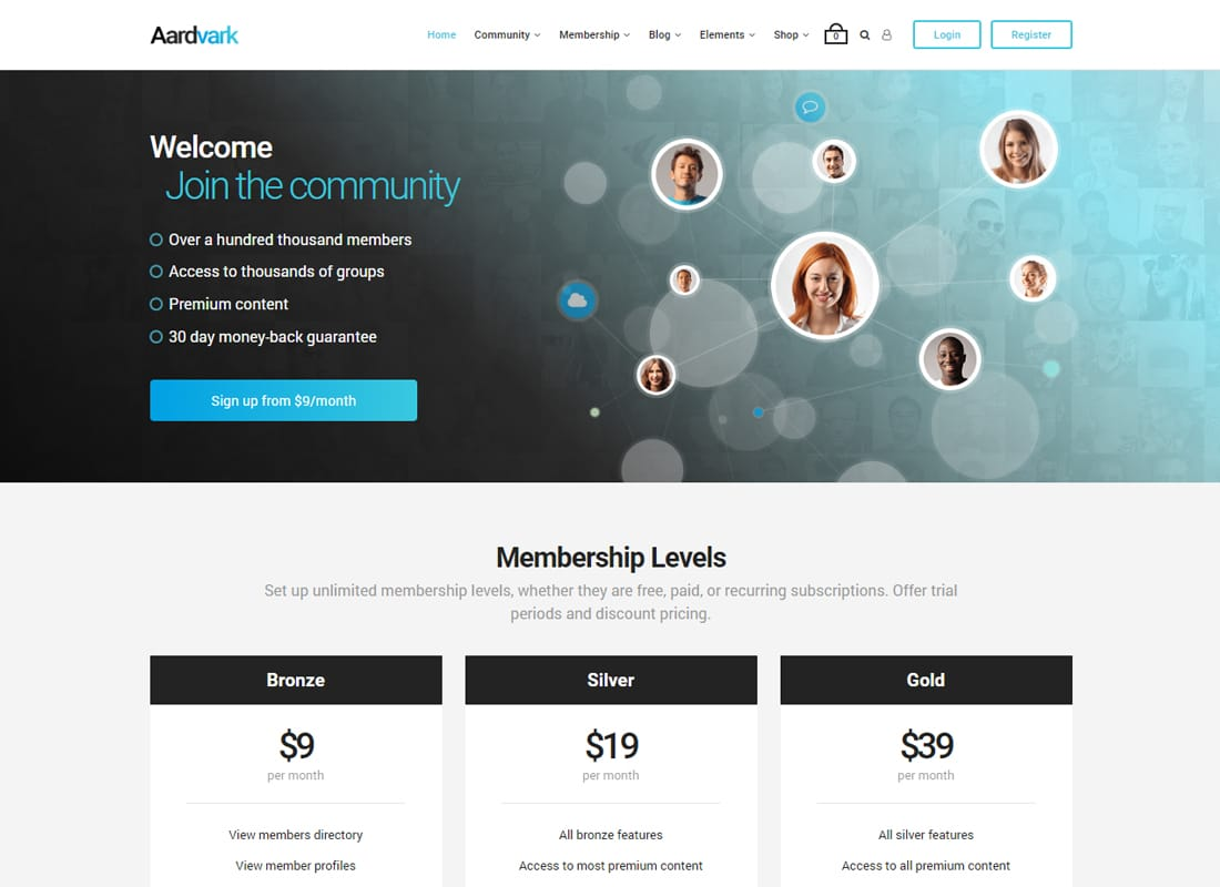 Aardvark - BuddyPress, Membership & Community Theme Website Template