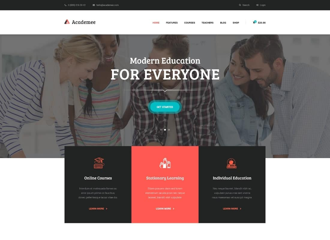 Academee | Education Center & Training Courses WordPress Theme Website Template