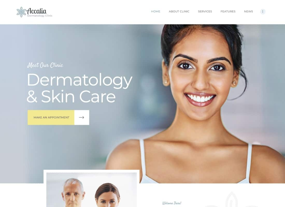 Accalia | Dermatology Clinic WordPress Theme Website Template