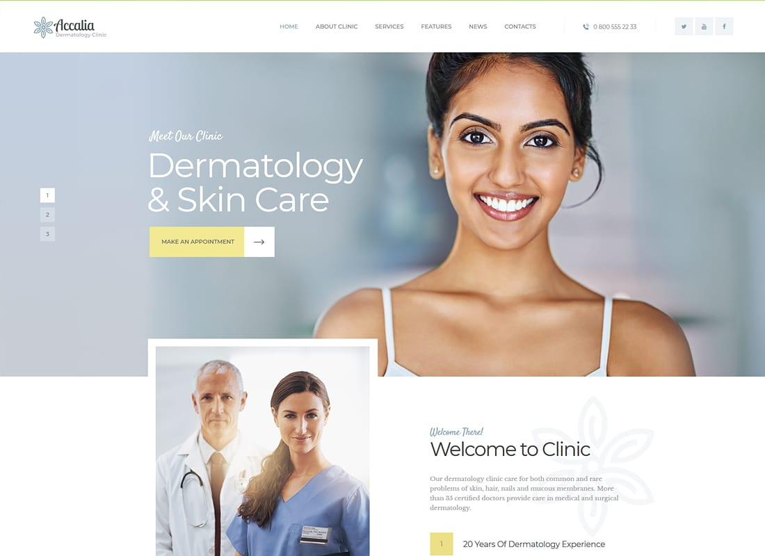Accalia - Dermatology Clinic WordPress Theme Website Template