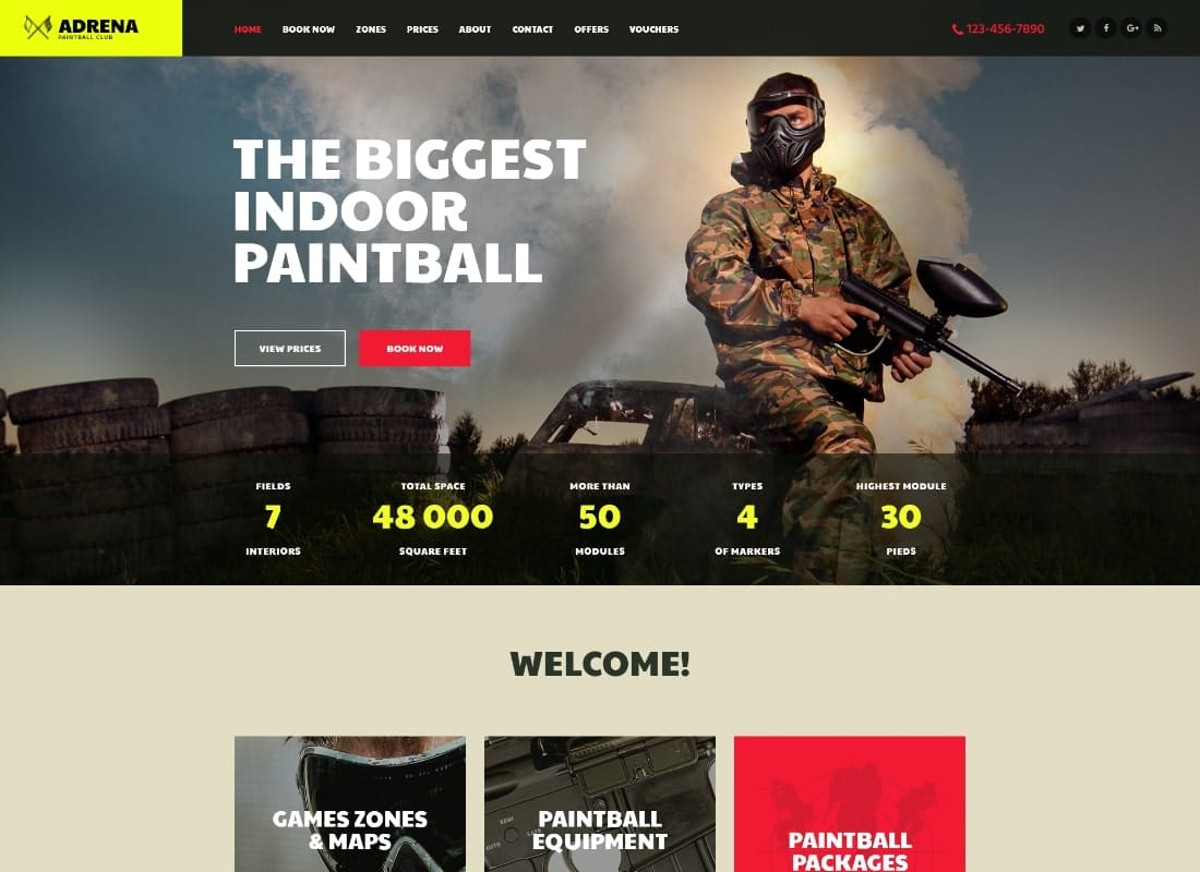 Adrena | Airsoft Club & Paintball WordPress Theme Website Template