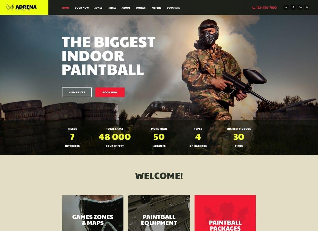 Adrena | Airsoft Club & Paintball WordPress Theme Website Template