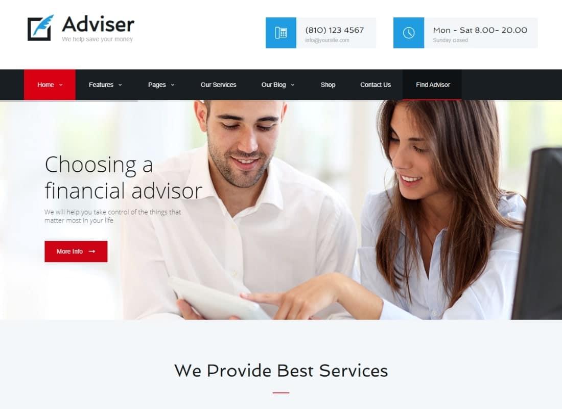 Adviser | A Modern Finance & Accounting WordPress Theme Website Template