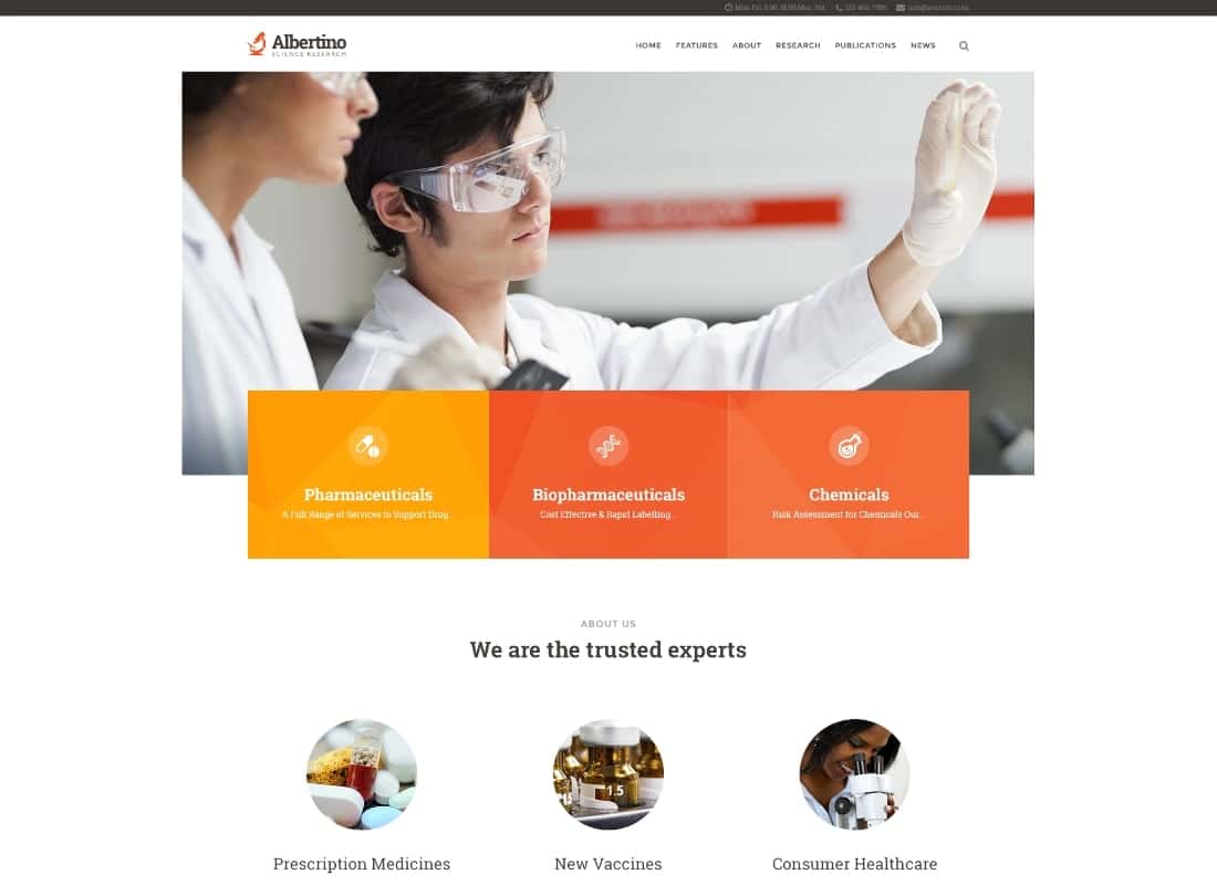 Albertino - Science Laboratory Research & Technology WordPress Theme Website Template