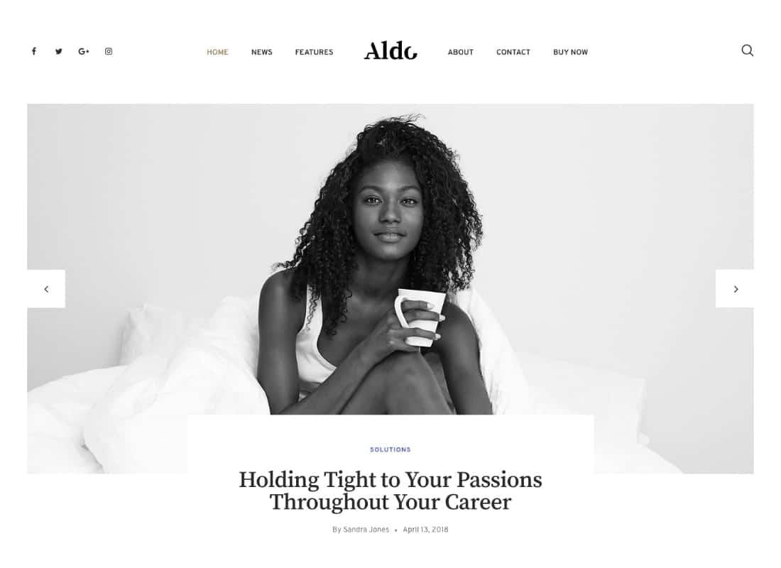 Aldo | Black and White Gutenberg Blog WordPress Theme Website Template