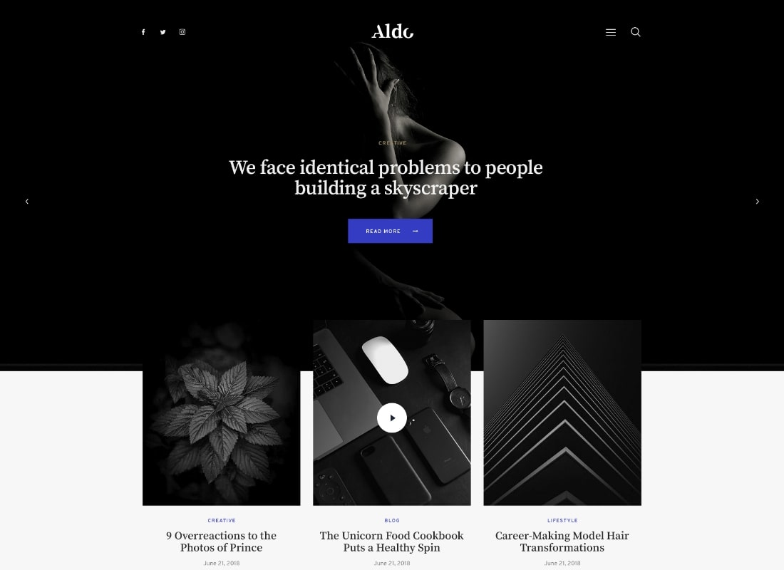 Aldo | Black and White Gutenberg Blog WordPress Theme Website Template