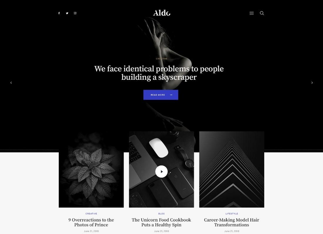 Aldo   Black and White Gutenberg Blog WordPress Theme Website Template