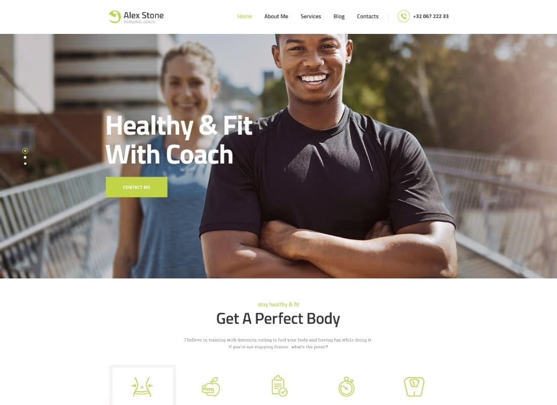 Alex Stone | Personal Gym Trainer WordPress Theme Website Template