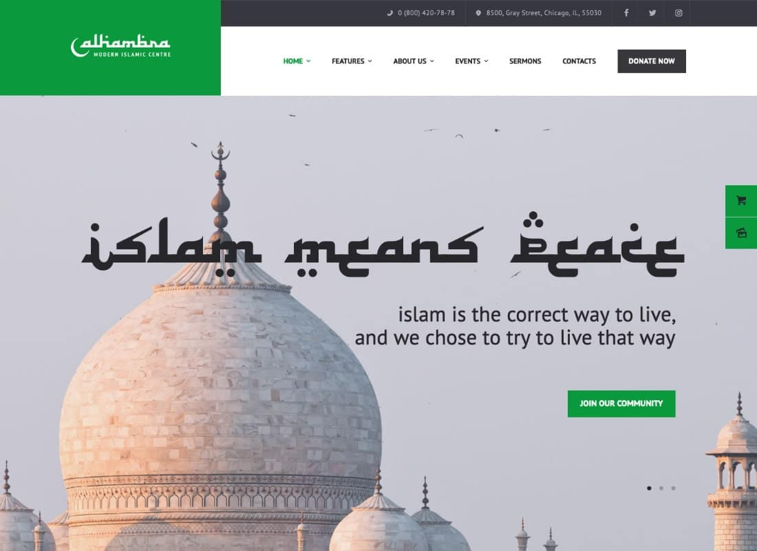 Alhambra | Mosque & Islamic Centre Church WordPress Theme + RTL Website Template