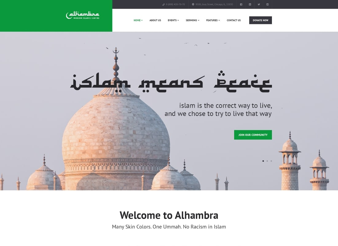 Alhambra | Mosque & Islamic Centre Church WordPress Theme + RTL Website Template