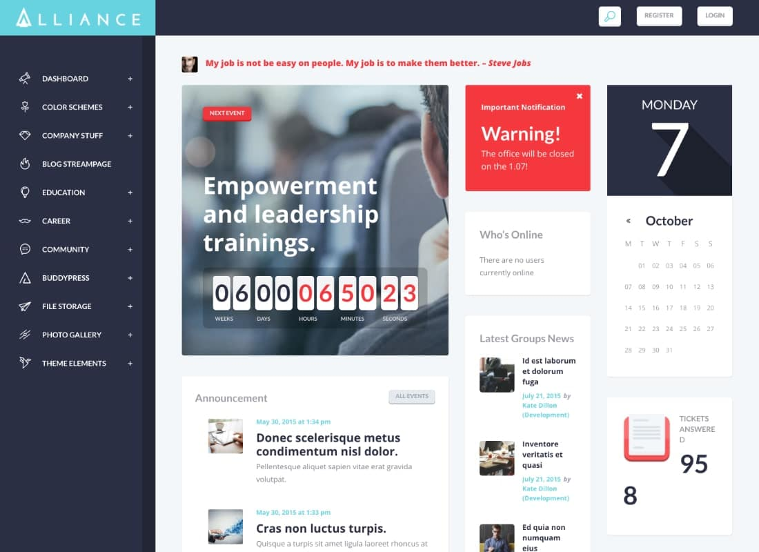 Alliance | Intranet & Extranet WordPress Theme Website Template
