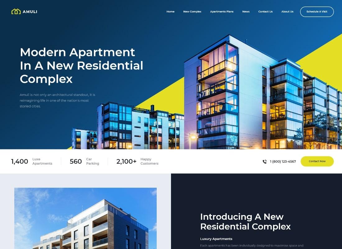 Amuli   Property & Real Estate WordPress Theme Website Template