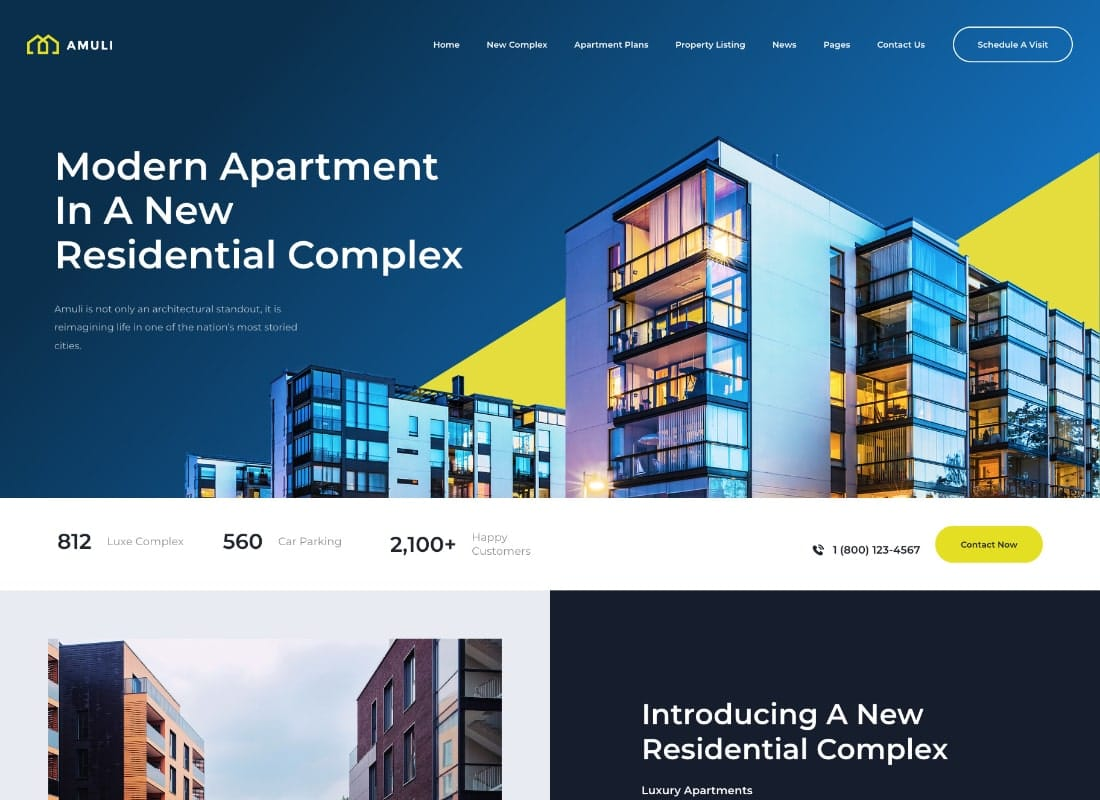 Amuli | Single & Multiple Property Real Estate WordPress Theme Website Template