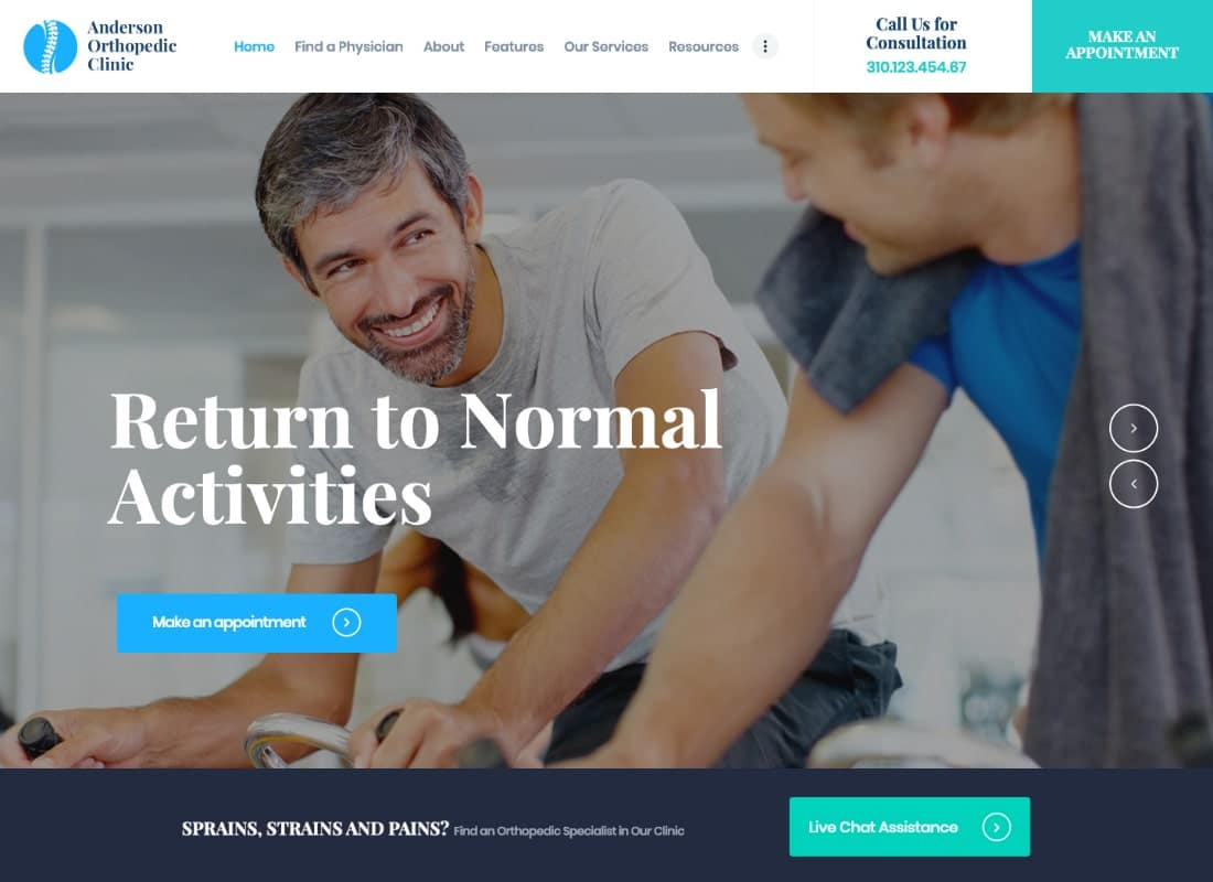 Anderson | Orthopedic Clinic & Medical Center WordPress Theme Website Template